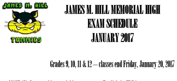 Students please pay attention to the Exam schedule posted around the school.